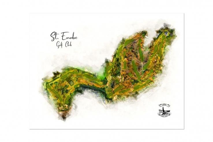 Modern golf art of St Enodoc GC by Joe Mcdonnell.