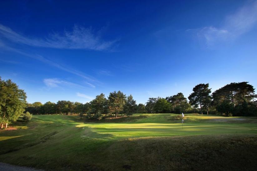 The 16th green at The Addington Golf Club, in Croydon, London, England.