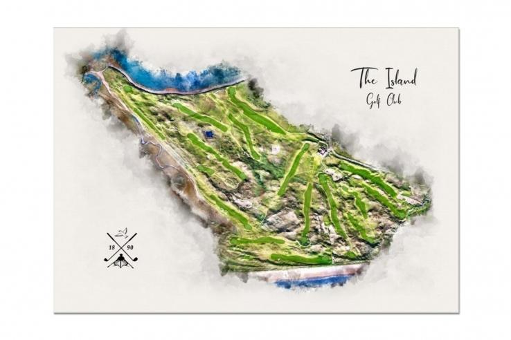 A piece modern golf art by Joe Mcdonnell of The Island Golf Club.