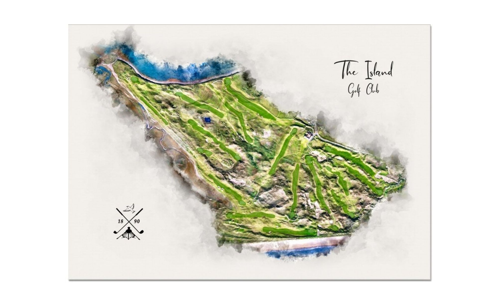 A piece modern golf art by Joe Mcdonnell of The Island Golf Club.