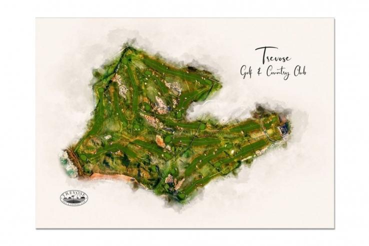 Modern golf art of Trevose GC by Joe Mcdonnell.