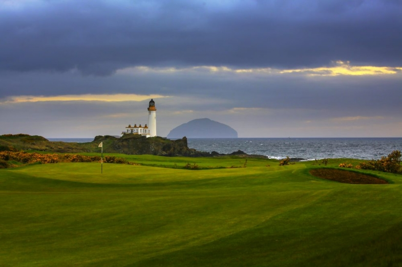 The lighthouse from the King Robert The Bruce Golf Course at Trump Turnberry.