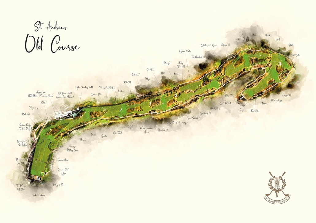 A modern golf art course map of The Old Course St Andrews by Joe Mcdonnell.