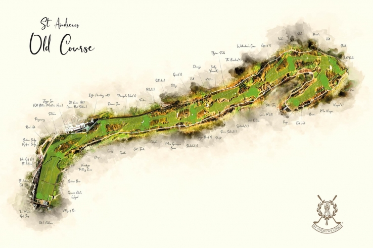 A master course map of The Old Course St Andrews.