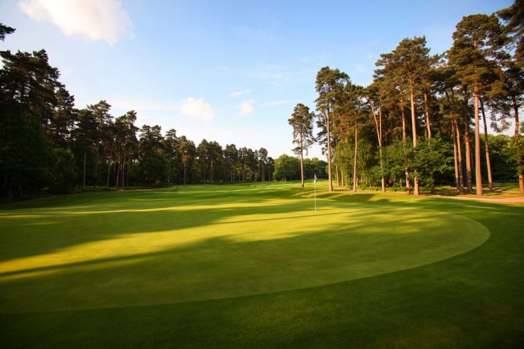 The 2nd green on the Marquess Course at Woburn Golf Club.
