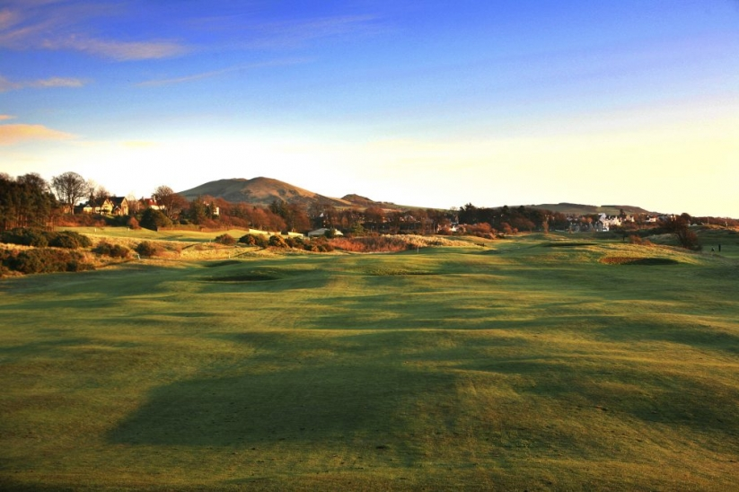 The undulations at dusk at Lundin Golf Club.
