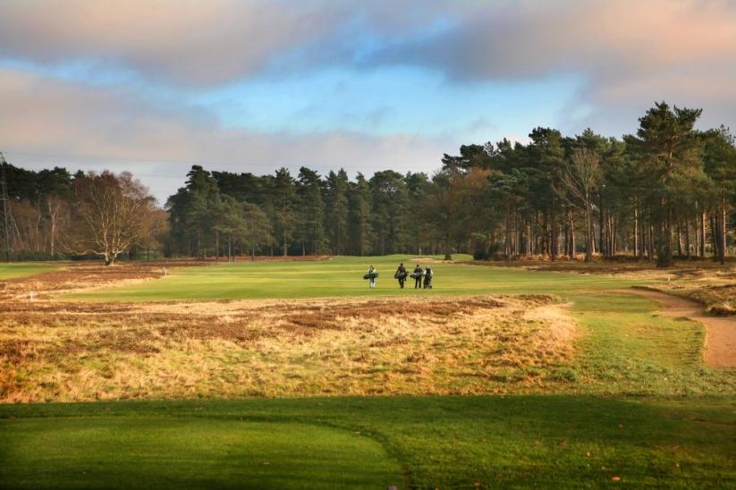 Golfers on the 16th hole at Blackmoor Golf Club.