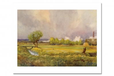 Remastered watercolour of Carnoustie Golf Links found in Golf Courses of the British Isles from artist Harry Rountree.