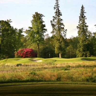 The short par 3 17th at Loch Lomond Golf Club.