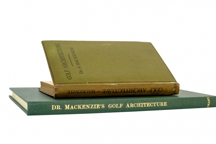The photo shows books containing Alister MacKenzie's General Principles of golf course architecture and design.