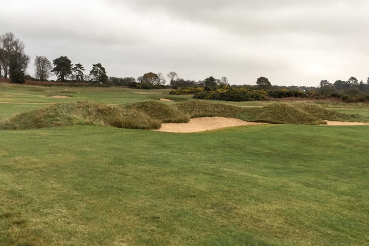 The deep bunkers on the back nine at Aldeburgh, consulted on by Harry Colt and Hugh Alison. The course features in our Suffolk Travel Guide.