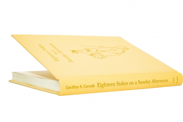 The photo shows the cover of the book Eighteen stakes on a Sunday Afternoon.