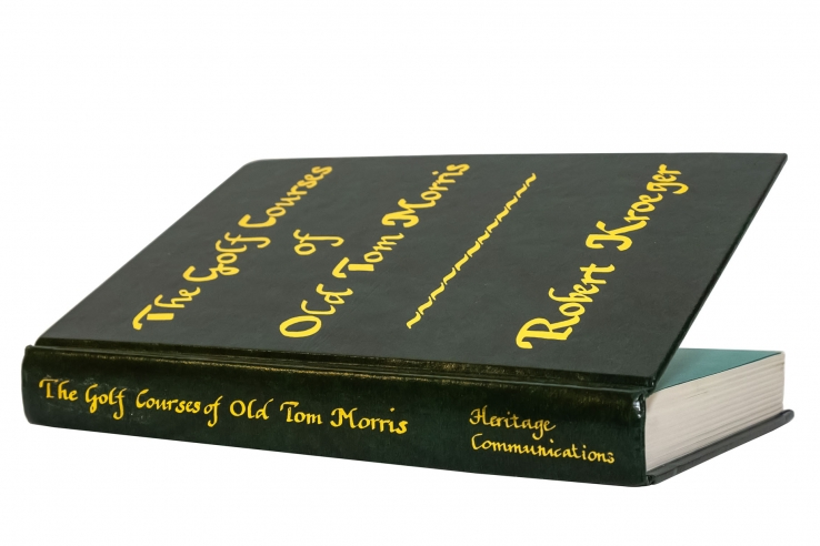 A photo of the rare book of Old Tom Morris' golf courses by Robert Kroeger.