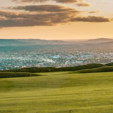 The 11th green at Cleeve Hill Golf Club.