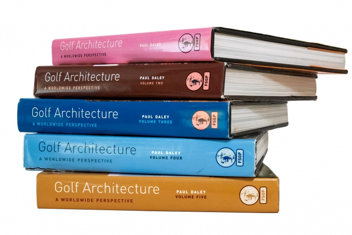 Volumes 1-5 of Golf Architecture: A Worldwide Perspective.