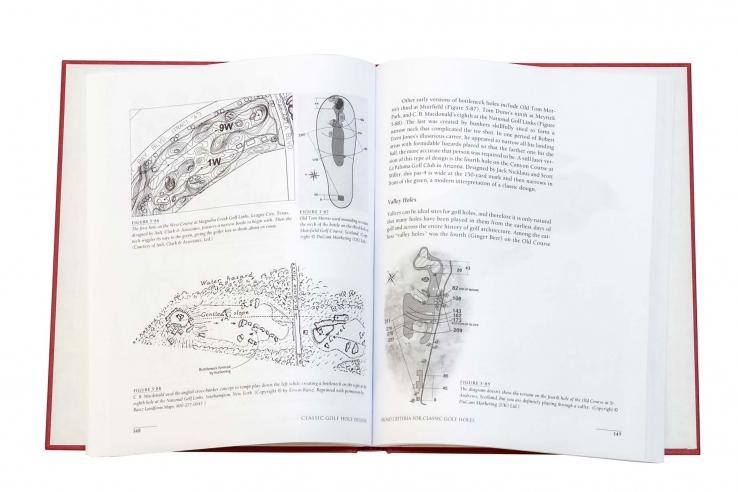 A photo of the artwork inside the book Classic Golf Hole Design.