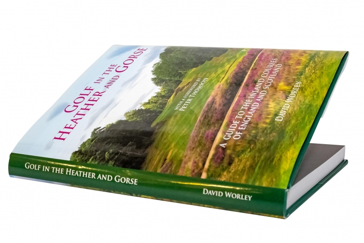 A photo showing the book, Golf in the Heather and Gorse by David Worley.