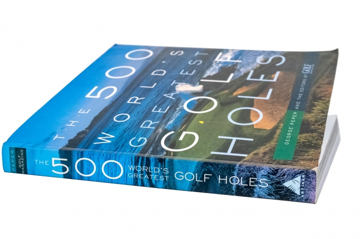 A photo of the cover of the book 500 Greatest Golf Holes.