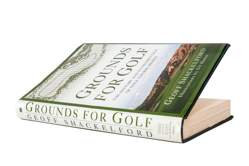 A photo of the book Grounds for Golf written by Geoff Shackelford and illustrated by Gil Hanse. It is included in our Golf Architecture Books Beginners Guide.