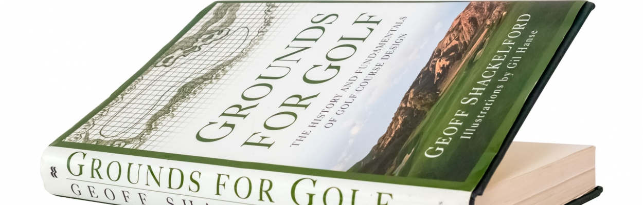 A photo of the book Grounds for Golf written by Geoff Shackelford and illustrated by Gil Hanse.