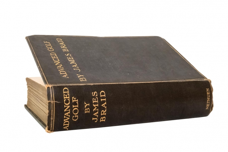 A photo of the cover of the book Advanced Golf by architect James Braid.