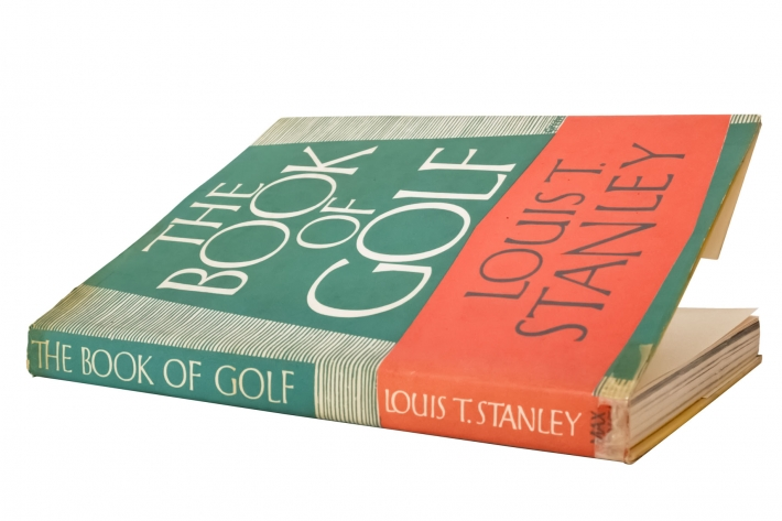 A photo of the cover of The Book Golf featuring Tom Simpson.