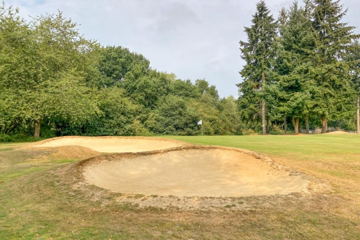 Layered bunkers at Haste Hill Golf Club in North London.