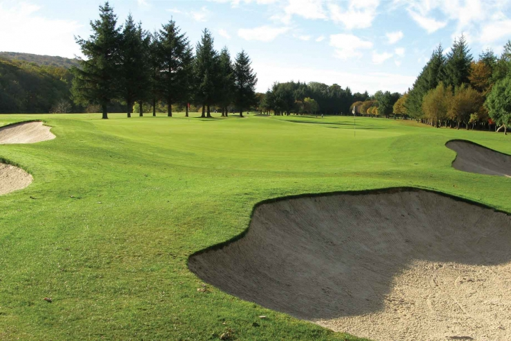 A Alister MacKenzie designed green at Duff House Royal Golf Club.
