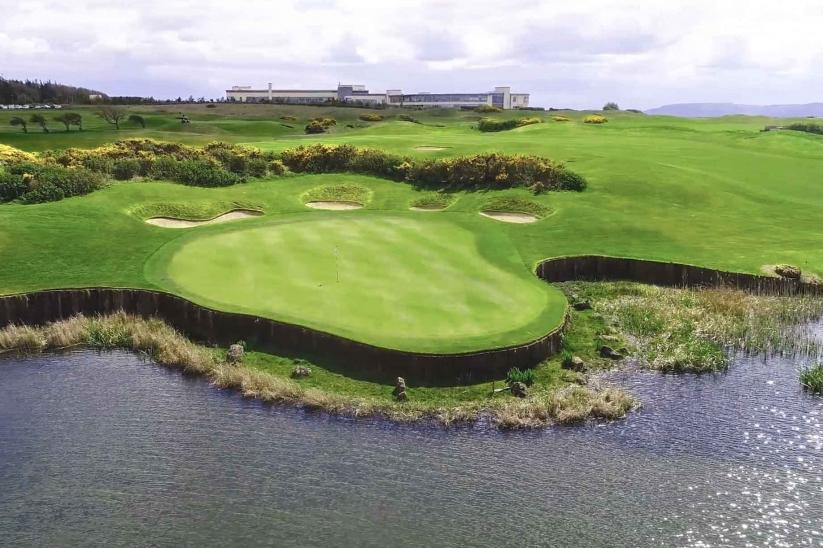 The peninsula green at Galway Bay Golf Resort.