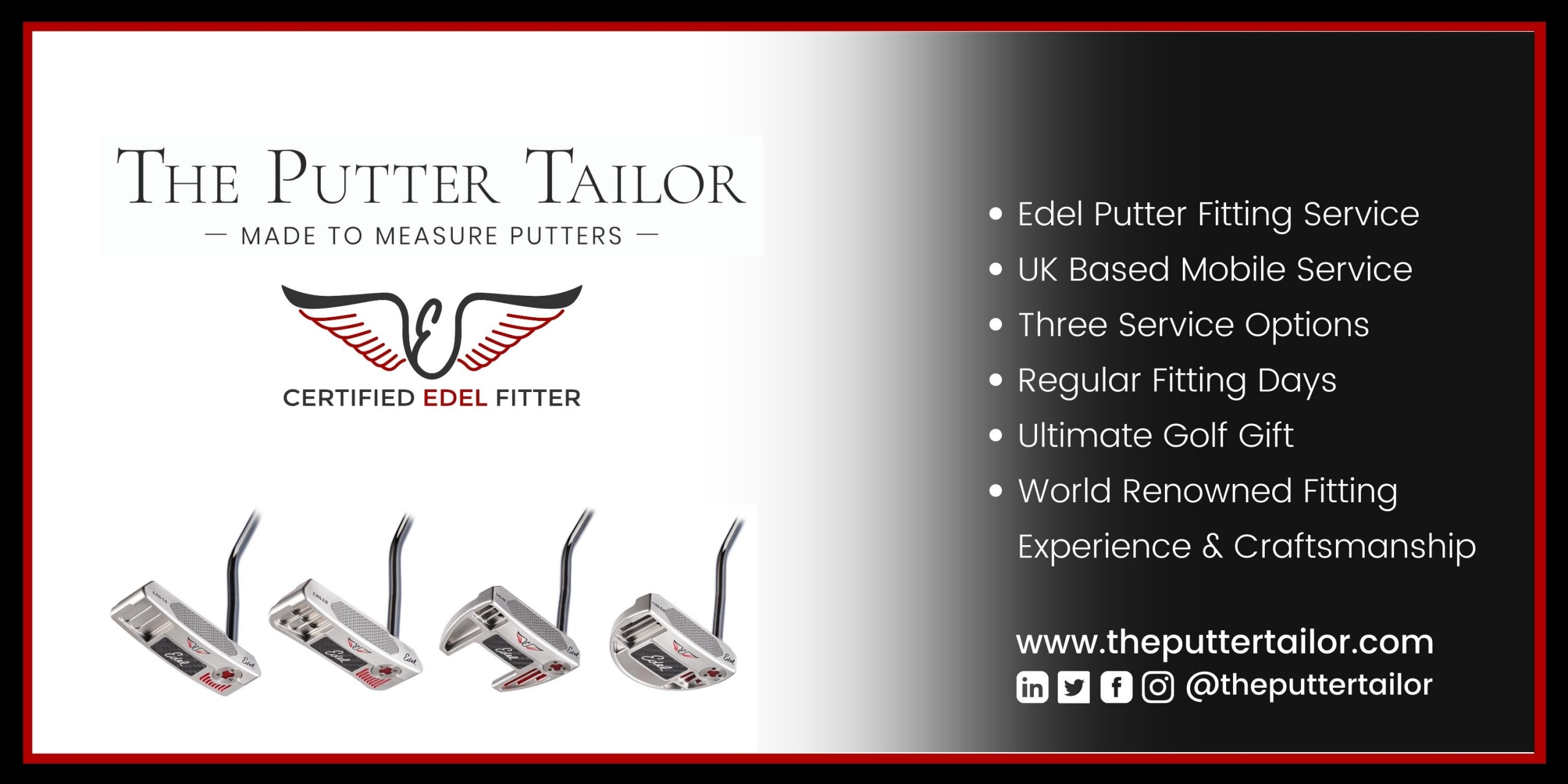 The Putter Tailor is a Certfied Fitter for EAS Putters and SMS Wedges in The UK for Edel Golf