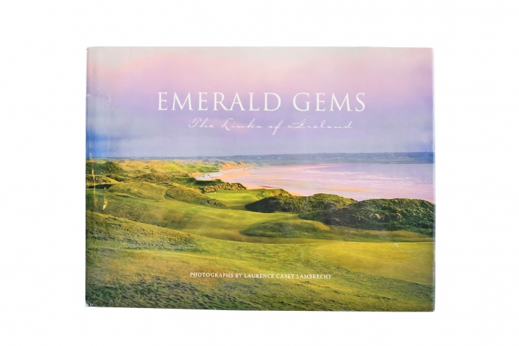 The photo shows the cover of the book Emerald Gems: The Links of Ireland by Larry Lambrecht.