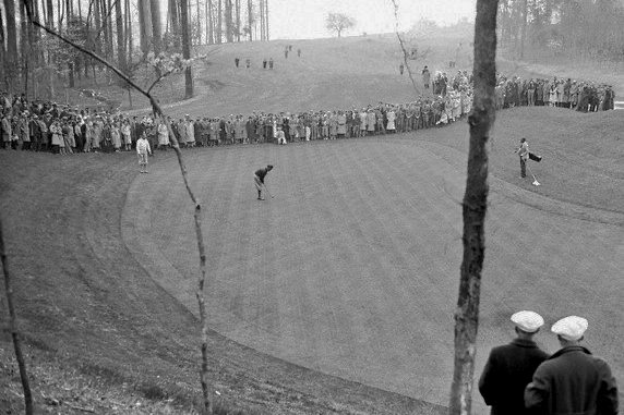 Bobby Jones seen putting on the Tenth green at Augusta National in 1935.