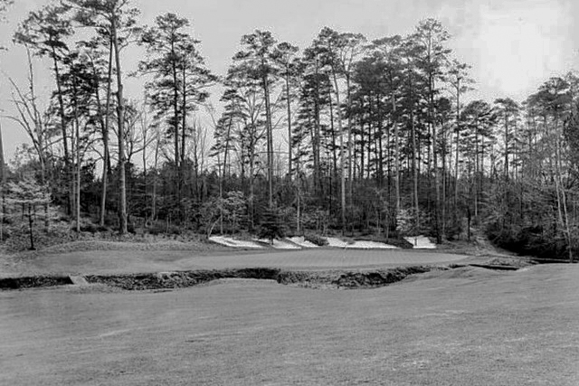 A photo of the original 13th green complex of Augusta National in 1948.
