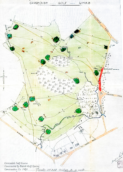 A photo of the original 1924 Cavendish Golf Club routing map laid out by Alister MacKenzie.