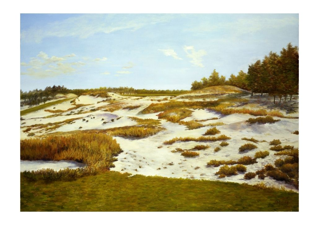 A golf course oil painting by Michael Miller of Pinehurst.