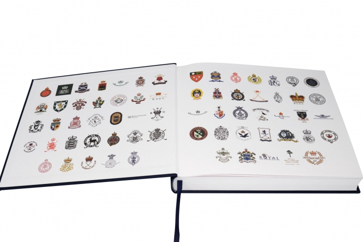 Inside the cover of the book: Golf's Royal Clubs is a logo from each of the 66!