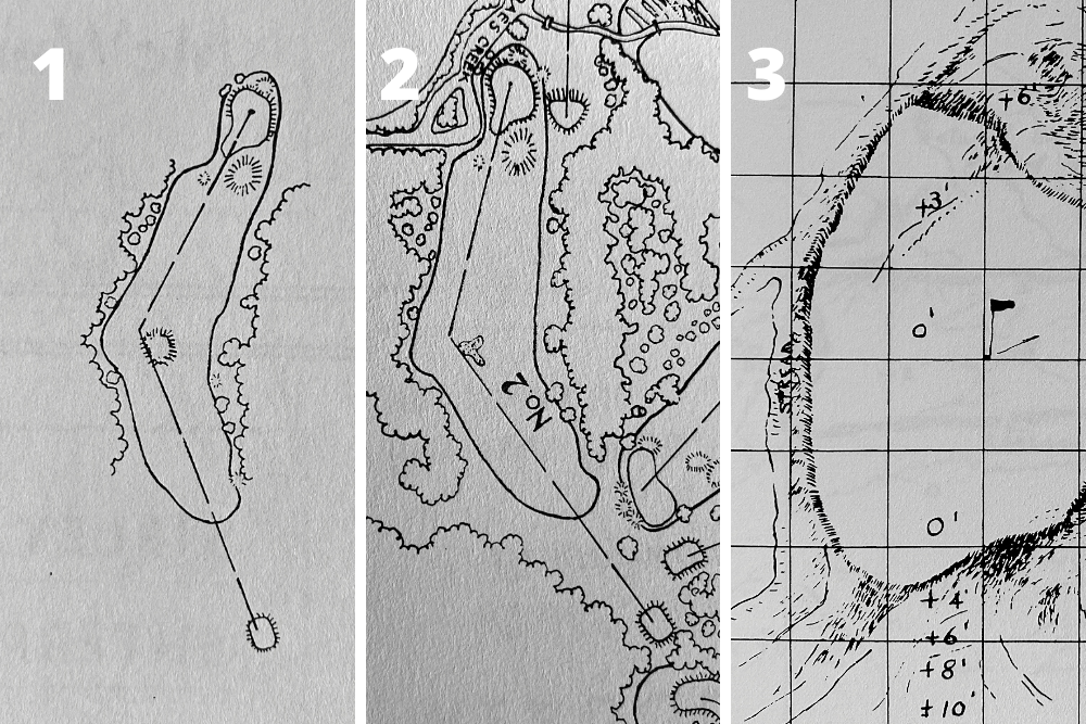 A pictorial study of the changes to the green and bunkering on Hole 11, White Dogwood at the home of The Masters, Augusta National Golf Club.