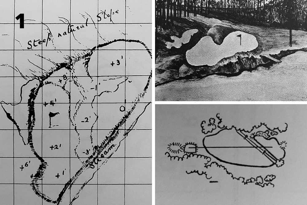 A pictorial study of the changes to the green and bunkering on Hole 16, Redbud at the home of The Masters, Augusta National Golf Club.