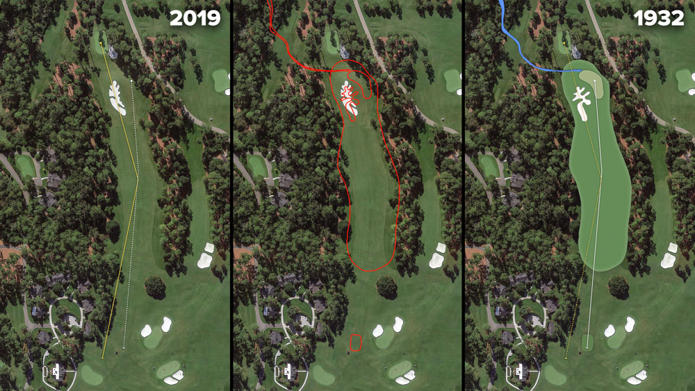 Visual outline of 1932 Augusta National over modern imagery of Camellia, Hole 10 at the home of The Masters, Augusta National Golf Club.
