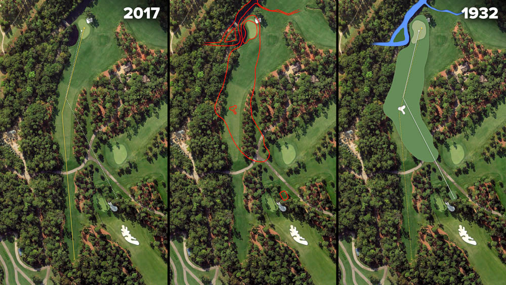 Visual outline of 1932 Augusta National over modern imagery of White Dogwood, Hole 11 at the home of The Masters, Augusta National Golf Club.