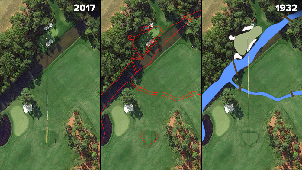Visual outline of 1932 Augusta National over modern imagery of Golden Bell, Hole 12 at the home of The Masters, Augusta National Golf Club.