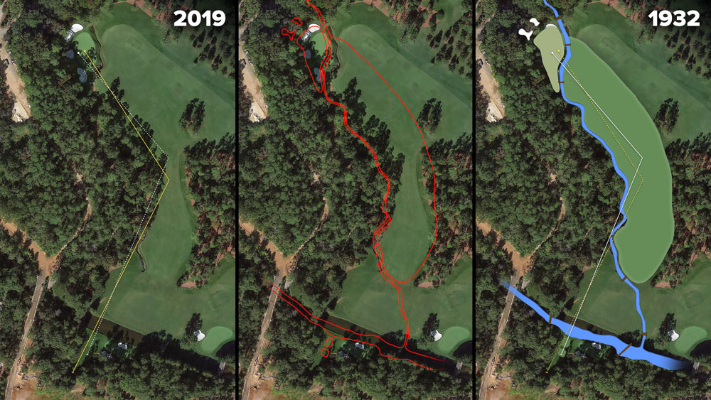 Visual outline of 1932 Augusta National over modern imagery of Azalea, Hole 13 at the home of The Masters, Augusta National Golf Club.