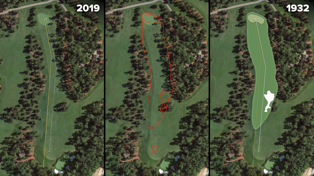 Visual outline of 1932 Augusta National over modern imagery of Chinese Fir, Hole 14 at the home of The Masters, Augusta National Golf Club.
