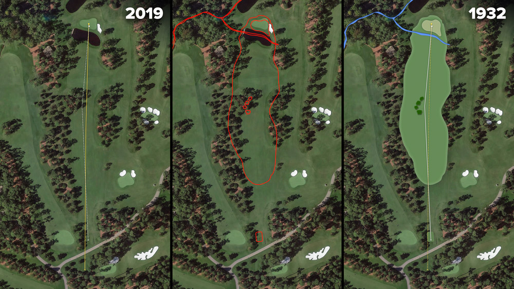 Visual outline of 1932 Augusta National over modern imagery of Firethorn, Hole 15 at the home of The Masters, Augusta National Golf Club.