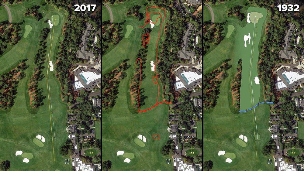 Visual outline of 1932 Augusta National over modern imagery of Tea Olive, Hole 1 at the home of The Masters, Augusta National Golf Club.