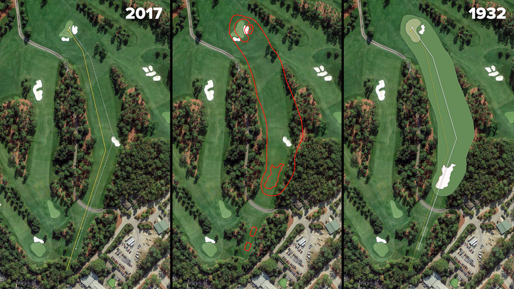 Visual outline of 1932 Augusta National over modern imagery of Pink Dogwood, Hole 2 at the home of The Masters, Augusta National Golf Club.