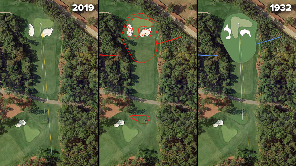 Visual outline of 1932 Augusta National over modern imagery of Flowering Crab Apple, Hole 4 at the home of The Masters, Augusta National Golf Club.