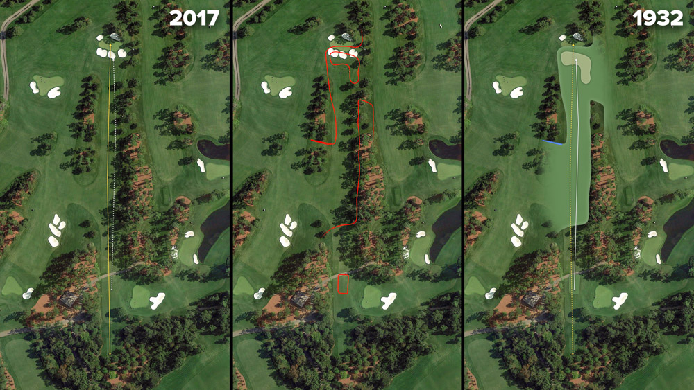 Visual outline of 1932 Augusta National over modern imagery of Pampas, Hole 7 at the home of The Masters, Augusta National Golf Club.