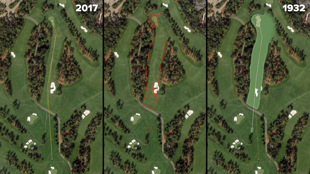 Visual outline of 1932 Augusta National over modern imagery of Yellow Jasmine, Hole 8 at the home of The Masters, Augusta National Golf Club.