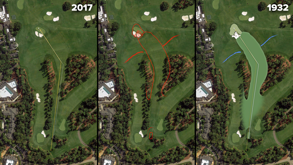 Visual outline of 1932 Augusta National over modern imagery of Carolina Cherry, Hole 9 at the home of The Masters, Augusta National Golf Club.